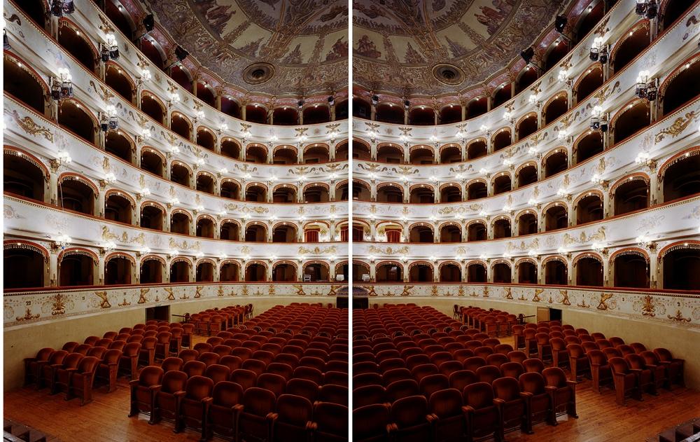 "Doug Hall<br /> <em>Teatro Comunale, Ferrara </em>(diptych), 2002<br /> Archival pigment print<br /> 63 x 102""  Edition of 6"