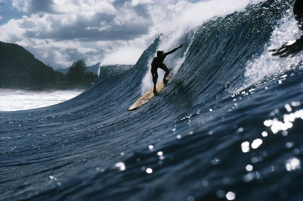 "LeRoy Grannis<br /> <em>Rory Russell, Pipeline, Oahu, </em>1972<br /> Chromogenic print<br /> 26 x 36""<br /> Edition of 18"