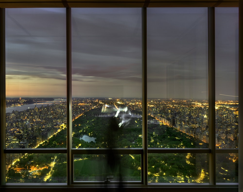 "Matthew Pillsbury<br /> <i>Self Portrait Over Central Park at Sunset, One57</i>, 2016 (TV16036)<br /> Archival pigment print<br /> 20 x 24""    Edition of 10<br /> 30 x 40""    Edition of 6 (plus 2 APs)<br /> 50 x 60""    Edition of 2 (plus 1 AP)"