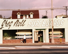 "LeRoy Grannis<br /> <em>Greg Noll Surf Shop, Hermosa Beach,</em> 1963<br /> Chromogenic print<br /> 36 x 36""<br /> Edition of 18"