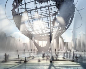 "Matthew Pillsbury<br /> <i>Unisphere, Queens, NY</i>, 2016 (TV16056)<br /> Archival pigment print<br /> 20 x 24""    Edition of 10<br /> 30 x 40""    Edition of 6 (plus 2 APs)<br /> 50 x 60""    Edition of 2 (plus 1 AP)"