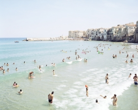 "Massimo Vitali<br /> <em>Cefalu First Surf </em>(#3196), 2008<br /> Digital C print with Diasec mount<br /> 71 x 92""    Edition of 6"