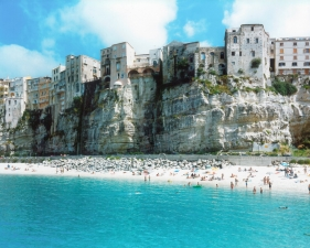 "Massimo Vitali<br /> <em>Tropea Stones </em>(#4876), 2015<br /> Chromogenic print with Diasec mount and wooden frame<br /> 71 x 95""    Edition of 6"