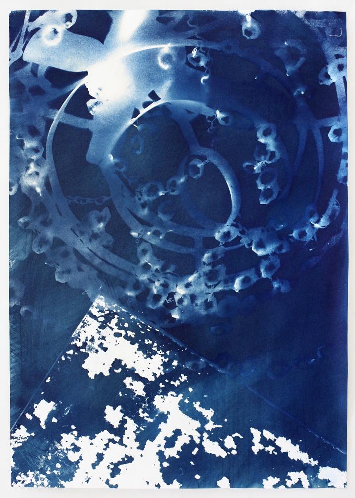 "Vanessa Albury<br /> <i>Light Shadowgraphs, Chandelier XXII,</i>2014<br /> Cyanotype on paper<br /> 19 x 14""<br /> Unique"