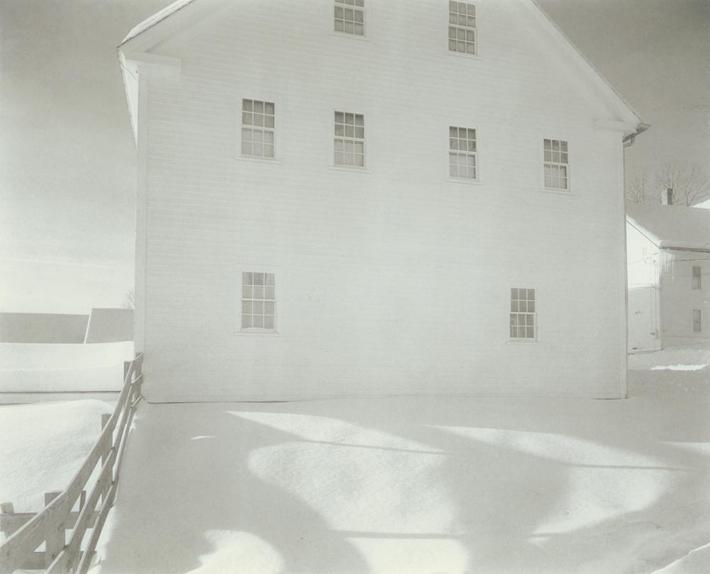 "Jed Devine<br /> <em>Shaker House in snow (ca. 1995)</em><br /> Platinum-palladium print on Japanese rice paper<br /> 8 x 10"""