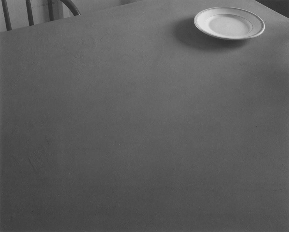 "Jed Devine<br /> <em>Untitled (Tabletop with Plate)<em><br />Platinum-palladium print on Japanese rice paper<br /> 8 x 10"""