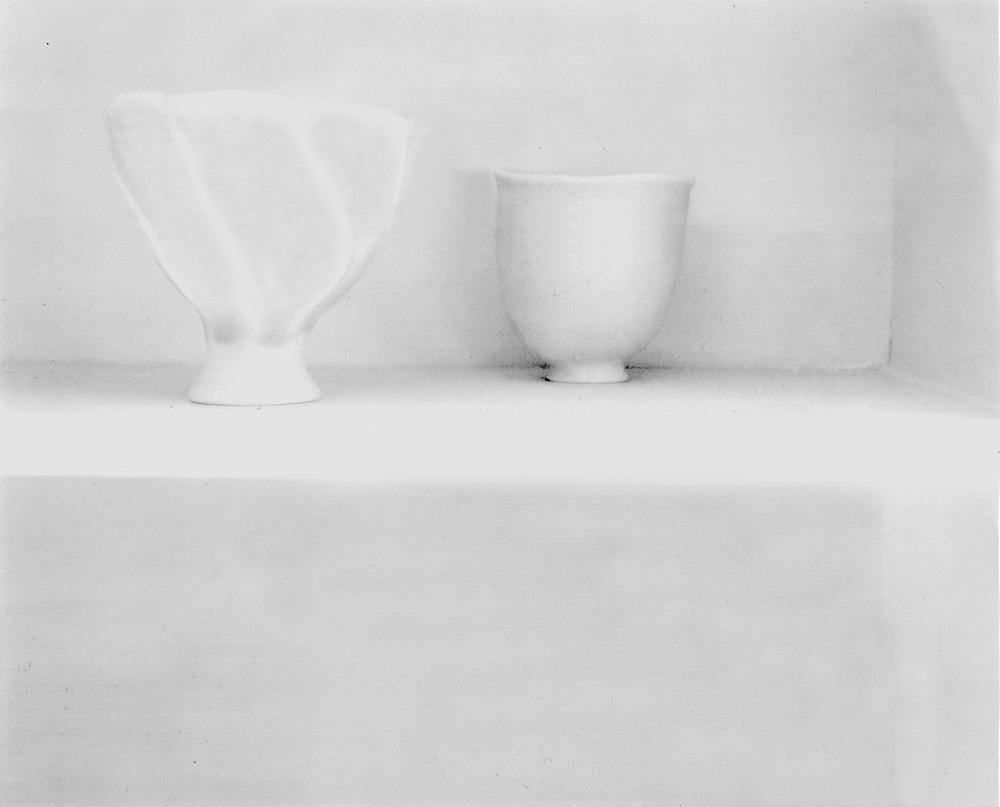"Jed Devine<br /> <em>Untitled (White Bowls)</em><br /> Platinum-palladium print on Japanese rice paper<br /> 8 x 10"""