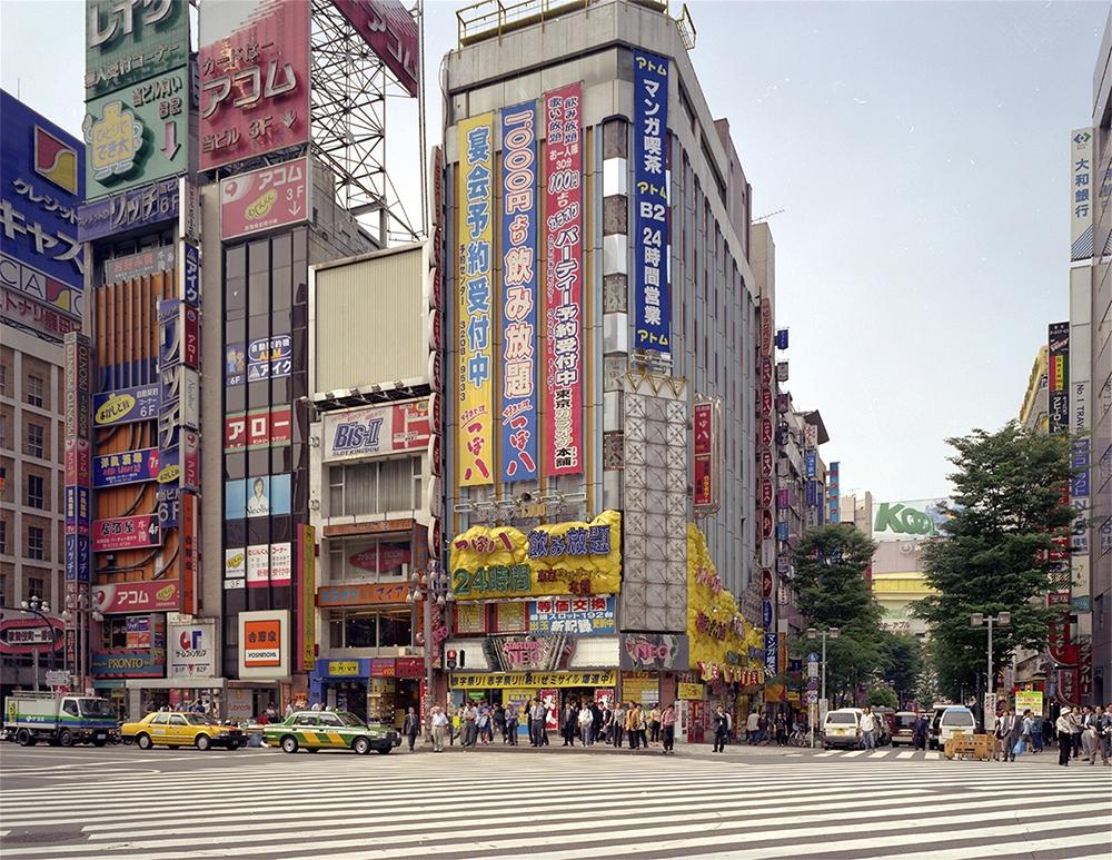 "Doug Hall<br /> <em>Empty Crosswalk, Shinjuku, </em>2000<br /> Chromogenic prints<br /> 48 x 63.5""  Edition of 6"