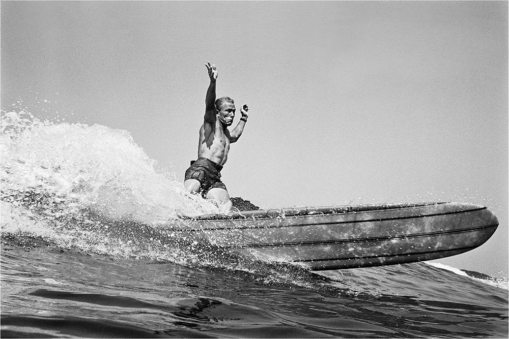"""LeRoy Grannis<br /> <em>Dewey Weber, 22nd Street, Hermosa Beach,</em> 1966<br /> Gelatin silver print<br /> 16 x 20""""  Edition of 25 plus 3 APs<br /> 30 x 40""""  Edition of 15 plus 2 APs<br /> 48 x 72""""  Edition of 5 plus 2 APs"""