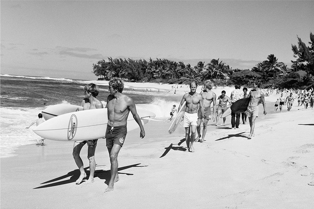 "LeRoy Grannis<br /> <em>Duke Classic Finalists, Sunset Beach,</em>1968<br /> Gelatin silver print<br /> 16 x 20""  Edition of 25 plus 3 APs<br /> 30 x 40""  Edition of 15 plus 2 APs<br /> 48 x 72""  Edition of 5 plus 2 APs"