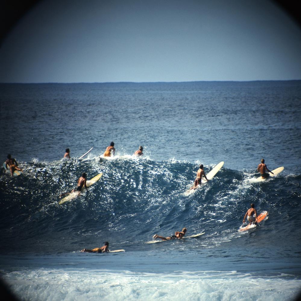 "LeRoy Grannis<br /> <em>Sunset Beach (No. 78),</em> 1972<br /> Chromogenic print<br /> 36 x 36""<br /> Edition of 18"