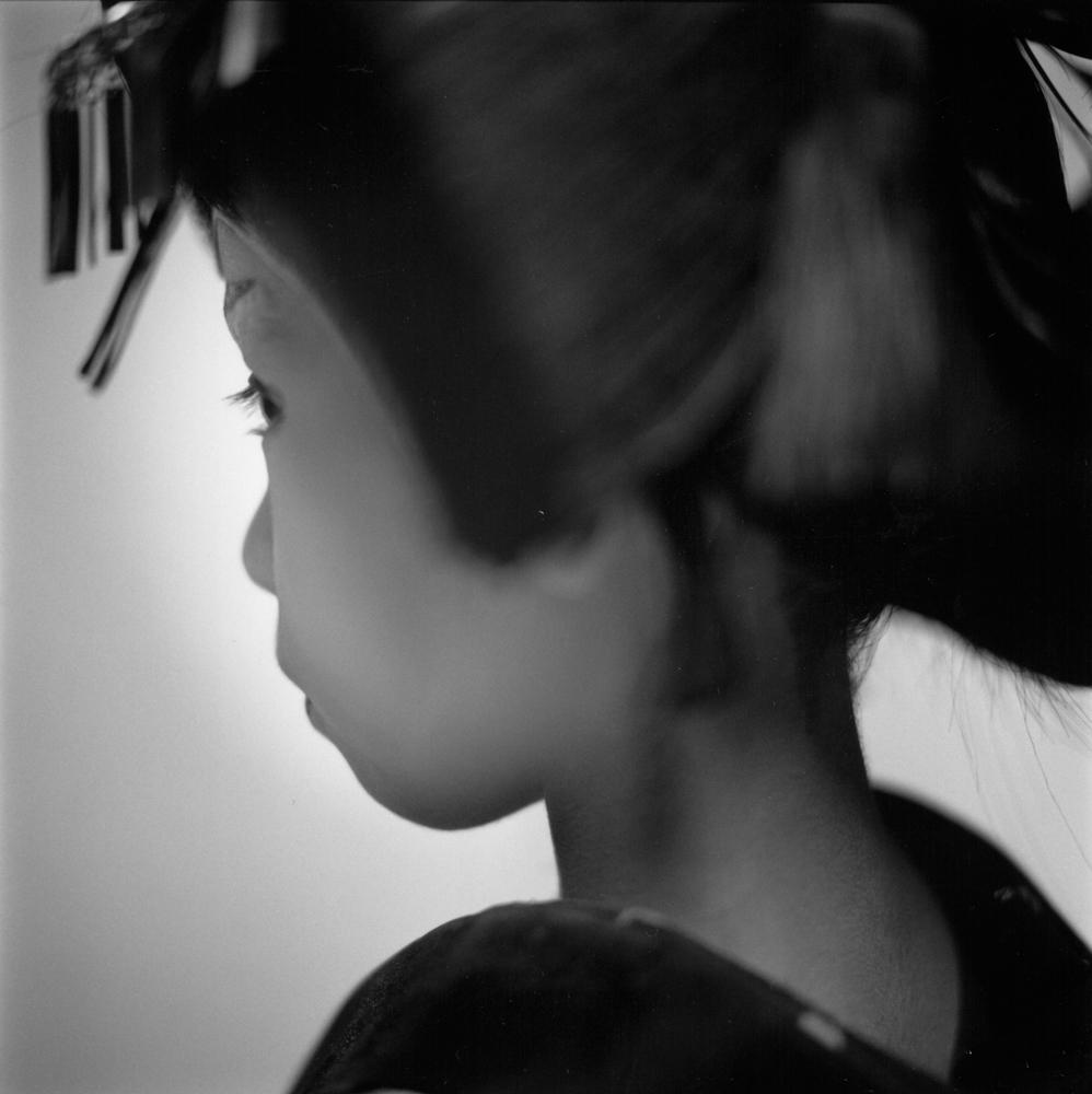 "Hiroshi Watanabe<br /> <em>Marina Ema, Matsuo Kabuki, </em>2003<br /> Silver Gelatin print<br /> 10 x 10""  Edition of 30<br />"