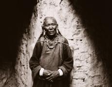 "Linda Connor<br /> <em>Pilgrim, Hemis Monastery, Ladakh, India</em>, 1998      <br /> Gold toned printing out paper fromoriginal glass plate negative<br /> 10 x 12"" unique print<br /> <br />"