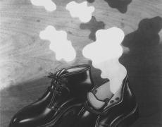 "Jed Devine<br /> <em>Untitled (Shoe Cutout)</em><br /> Platinum-palladium print on Japanese rice paper<br /> 10 x 8"""