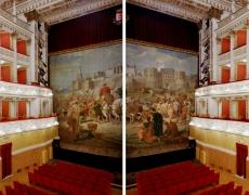 "Doug Hall<br /> <em>Teatro della Fortuna, Fano </em>(diptych), 2002<br /> Archival pigment print<br /> 50 x 122""  Edition of 6"