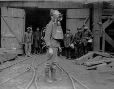 Lewis Hine<br /> <i>Coal Miner, PA</i>, 1933<br /> Silver gelatin print<br /> 5 x 6 7/8 inches (unique)