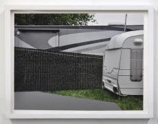 "Jude Broughan<br /> <i>Convoy</i>, 2015<br /> Archival pigment print, fabric, thread <br /> 8 x 12"" (unique)"