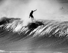 "LeRoy Grannis<br /> <em>Chris Cattel, Huntington Beach,</em> 1963<br /> Gelatin silver print<br /> 16 x 20""  Edition of 25 plus 3 APs<br /> 30 x 40""  Edition of 15 plus 2 APs<br /> 48 x 72""  Edition of 5 plus 2 APs"