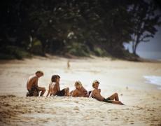 "LeRoy Grannis<br /> <em>Watching Surfers, Sunset Beach,</em> 1968<br /> Chromogenic print<br /> 36 x 36""<br /> Edition of 18"