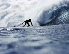 """LeRoy Grannis<br /> <em>Unknown Surfer, Pipeline, </em>1972<br /> Chromogenic print<br /> 26 x 36""""<br /> Edition of 18"""