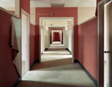 """Christopher Payne<br /> <em>Remodeled dormitory ward, Harlem Valley State Hospital, Wingdale, New York</em>, 2004<br /> Archival pigment ink print<br /> 20 x 24""""  Edition of 20<br /> 40 x 50""""  Edition of 10<br /> 50 x 60""""  Edition of 5"""