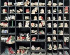 "Christopher Payne<br /> <em>Bowling shoes, Rockland State Hospital, Orangeburg, New York</em>, 2006<br /> Archival pigment ink prints<br /> 20 x 24""  Edition of 20<br /> 40 x 50""  Edition of 10<br /> 50 x 60""  Edition of 5"