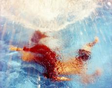 """Karine Laval<br /> <em>Poolscape #71</em>, 2010<br /> Chromogenic print<br /> 20 x 20""""  Edition of 15<br /> 30 x 30""""  Edition of 9<br /> 50 x 50""""  Edition of 5"""