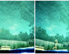 """Karine Laval<br /> <em>Poolscape #91</em>, 2010<br /> Chromogenic print<br /> 20 x 20""""  Edition of 15<br /> 30 x 30""""  Edition of 9<br /> 50 x 50""""  Edition of 5"""