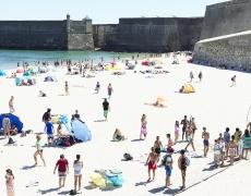 """Massimo Vitali<br /> <em>Praia da Torres Fortress Europe</em>(#D0011), 2016<br /> Digital C print with Diasec mount<br /> 71 x 92""""  Edition of 6"""