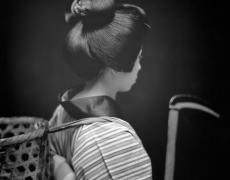 "Hiroshi Watanabe<br /> <em>Norie Maruyama as Okou, Matsuo Kabuki, </em>2003<br /> Silver Gelatin print<br /> 10 x 10""  Edition of 30<br />"
